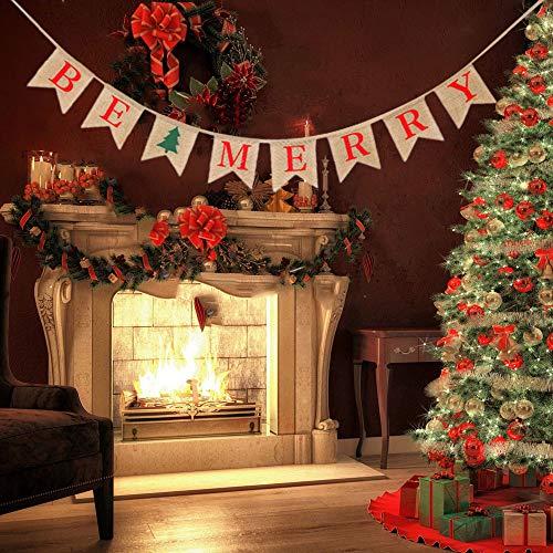 Gaddrt Weihnachtsflagge Weihnachten Hessische Leinwand Frohe Weihnachten Bunting Sign Rustikale Hochzeitsfest-Fahne 12 * 13cm (B)