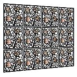 Foto - album Raumteiler Paravent Raumteiler Raumtrenner, KERNORV Room Divider Panel Curtain PVC Holz-Plastik Trennwand Home Dekoration für Wohnzimmer, Schlafzimmer, Küche, Esszimmer - 12 PCS (Schwarz)