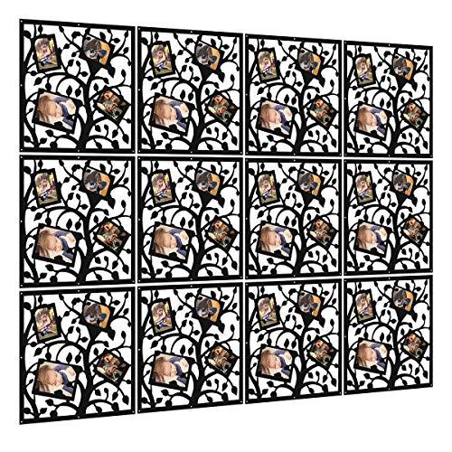 Kernorv Álbum de Fotos biombo de 12 Paneles, Divisor habitación Separador separación Espacios divisoria Pared (Negro)