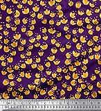 Soimoi Lila Baumwolle Ente Stoff asiatische Lilie Blumen-