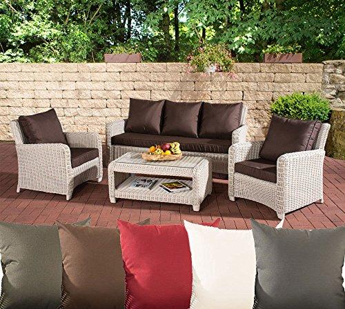 CLP Gartengarnitur SAN Fernando | Sitzgruppe mit 7 Sitzplätzen | Gartenmöbel-Set aus Polyrattan | In verschiedenen Farben erhältlich Rattan Farbe perlweiß, Bezugfarbe: Terrabraun