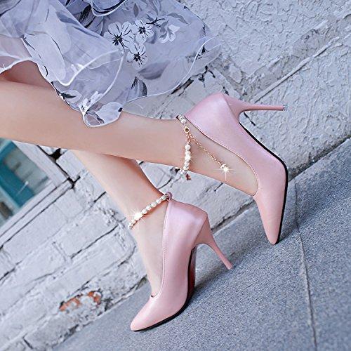 WYWQ Damen feine High Heels Party Schuhe Flache Mund spitze Zehe Schuhe Helle Lackleder Perlen , Pink , 38