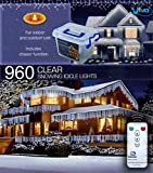 Vivo© 960 White LED Christmas Icicle Lights with 8 Mode Chaser Function, Remote Control and Hard Plastic Carry Storage Box Indoor Outdoor Xmas Mains Powered with Memory Function - FNF1606