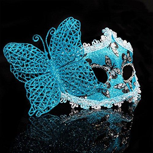 ade filigranen Eyemask Halloween Frau Spitze Venezianische Maske für Halloween Masquerade Karneval Party Kostüm Ball für Erwachsene und Kinder 2pc Blau (Schmetterling Laser Cut Maske)