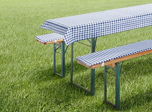 fashion and joy Auflagen Set für Bierzeltgarnitur Biergarniturauflage 3-teilig Vichy Karo blau für...