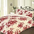Pieridae Florence Red Flower Floral Duvet & Pillowcase Bedding Quilt Cover Set - inexpensive UK light store.