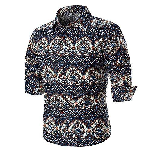 IMJONO Männer Bluse Sommer beiläufige dünne Lange Ärmel Bedruckte Shirt Top...