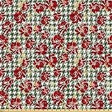 ABAKUHAUS Floral Tela por Metro, Scottish Pata De Gallo, Microfibra Decorativa para Artes y Manualidades, 1M (160x100cm), Hunter Verde Rubí