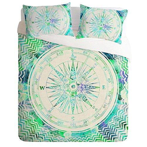 HUANZI Polyester Bettdecke Cover 3D kreisförmigen Muster Bettdecke Decke Set 3pcs Bettwäsche Set mit Kissen Etui-grün, König