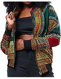 Zarupeng Chaqueta Corta de Gran Tamaño Ocasionales Impresas africanas de la Manga Larga de la Chaqueta