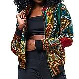 Zarupeng Chaqueta Corta de Gran tamaño Ocasionales Impresas africanas de la Manga Larga de la Chaqueta de Las Mujeres Cortavientos Abrigo (Verde, L)