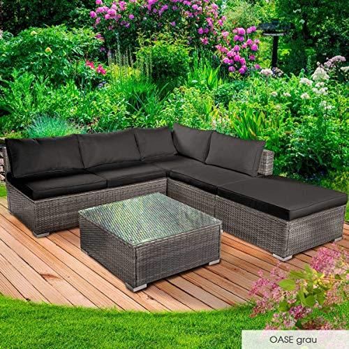 BRAST Poly-Rattan Gartenmöbel Lounge Set 14 Modelle 3 Farben 4-12 Personen Sitzgruppe OASE Grau