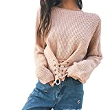 Reaso Pull Elegant Femmes Manches Longues Blouse Casual Chandail Chandail Automne Hiver Tricoter Bandage Pullover Tricot Sweater Loose Cardigan Ultra Blouson (Taille unique, Kaki)