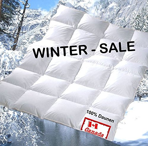 Revital extra-warme Winter Daunendecke Bettdecke 155x220 cm 1360g 100% Daunen, Wärmeklasse 4, 4x6 Kassetten (155x220 cm)