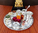 #8: GoldGiftIdeas 12 Inch Sarovar Silver Plated Pooja Thali Set, Occasional Gift, Pooja Thali Decorative, Wedding Gift