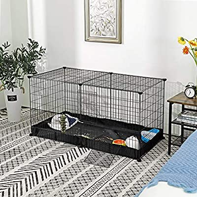 SONGMICS Guinea Pig Run Cage, Large Indoor Pet Playpen and Enclosure with Oxford Mat and 2 Doors, Metal Grid Crate for Rabbit, and Small Animals, 123 x 63 x 61 cm, Black LPI05H by SONGMICS