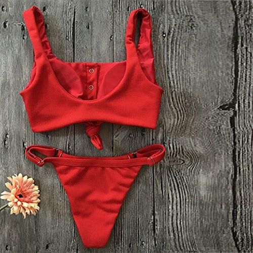Italily -Costume da bagno bikini a due pezzi Bikini Set Costumi da bagno Push-Up imbottito in pizzo solido con bottoni Costume da bagno Beachwear Red