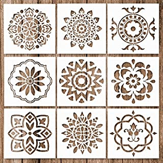 Whaline 9 Pack Mandala Stencils Template Set Mandala Dotting Painting Stencils Tool for Airbrush, Furniture Floor Tiles, Walls Art and Stone Rock Painting