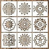 Whaline Mandala-Schablonen-Set Mandala-Dotting-Malschablonen Werkzeug für Airbrush, Möbel-Bodenfliesen, Wände Kunst und Stein-Malerei