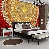 FORWALL Fototapete Vlies - Tapete Moderne Wanddeko Mandala in Rot V4 (254cm. x 184cm.) AMF10120V4