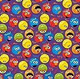 Stoffe Werning Baumwolljersey Sesamstraße Kreise lila Ernie Krümelmonster Oskar Grobi Elmo Bibo Kinderstoffe - Preis gilt für 0,5 Meter