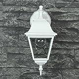 Wandlampe rustikal/weiß / LED geeignet / IP44 1x E27 bis 60W 230V / Hof Licht/Beleuchtung Einfahrt Außenbereich Garten Wandleuchte nostalgisch