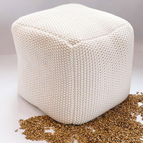 Vivrei Sitzhocker Sitzwürfel Pouf Quadratisch Bio Naturfüllstoff Dinkel-Schalen Bezug Strick Baumwolle Sitzsack Fußhocker Sitzkissen (Weiß)