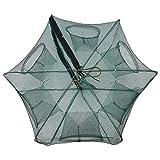 Faltbare Angelnetz Nylon für Fangen von Garnelen Minnow Krebse Köder Krabbe Fische ( Abmessung : 6 Holes )