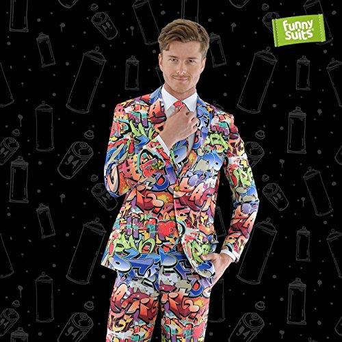 Funnysuits Graffiti 90er Streetart Anzug Hip Hop 3-Teiliger Anzug Kostüm Deluxe EU Size 54