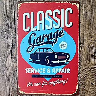 KOOLOL Blechschild, antike Garage, Bar, Pub Home Vintage Retro Schilder, My Garage My Rules, Classic Garage Repair Decor, ungerahmt, 20 x 30 cm