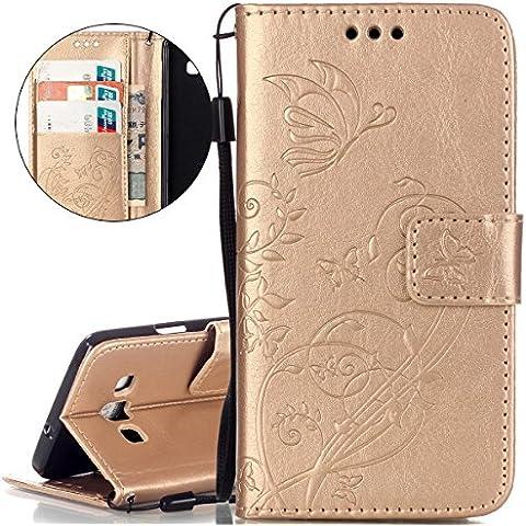 Custodia Samsung Galaxy A3, ISAKEN Galaxy A3 Flip Cover Case,