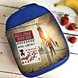 Personalised Zombie Walking Dead St395 Blue Nursery Childrens School Lunch Bag Cool Box Insulated Gift