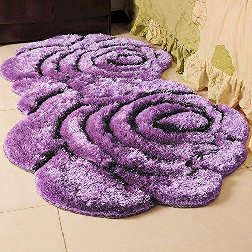 QIDI Teppich Blume Form Couchtisch Schlafzimmer Nachttisch Computer Stuhl Decke (Farbe : Purple) -