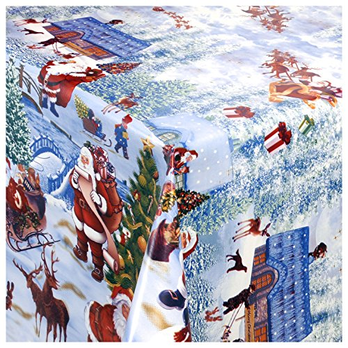 TEXMAXX Wachstischdecke Gartentischdecke Abwaschbar nach Wunschmaß WEIHNACHTSDORF Winter Wonderland (228-00) - 210 x 140 cm (Winter Wonderland Decor Party)