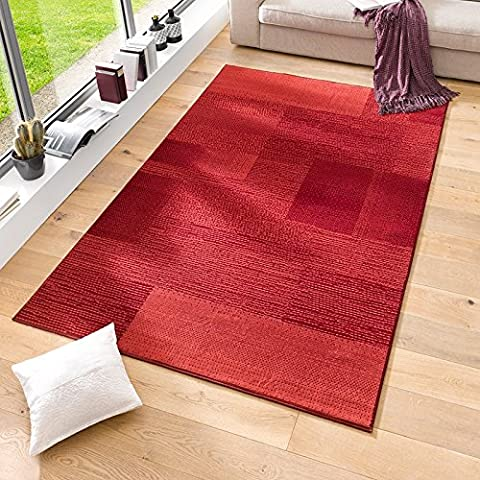 Velours Design Teppich 'Marble'   Kurzflor grau, taupe, braun, cacao, Farbe:Rot, Größe:160x230 cm (Teppich Rot)