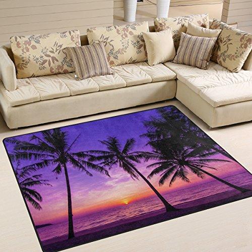 cpyang Palm Baum in Sunrise Rechteck Bereich Teppiche Foto Custom rutschfest Moderne Teppiche für Wohnzimmer Große Boden Matte für Schlafzimmer Esszimmer (5'3x 4'), Textil, einfarbig, 6'8
