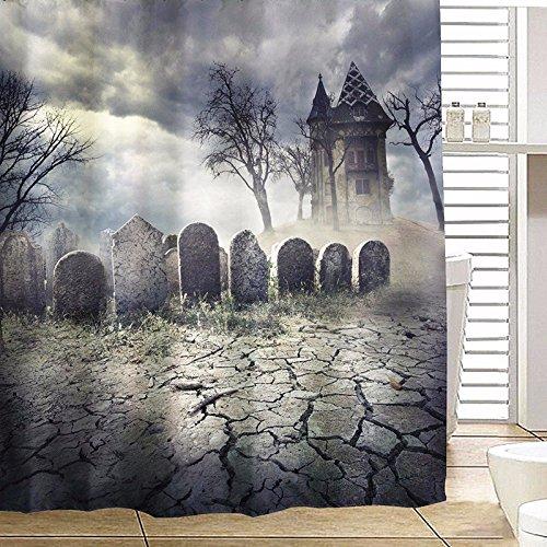 Bazaar 180x180cm Halloween Haunted House Polyester Duschvorhang Badezimmer Dekor mit 12 Haken