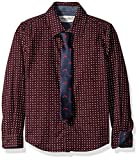 Sovereign Code Little Boys Polka Dot Long Sleeve Button Up with Printed Tie Set, Burgundy/Navy, 6