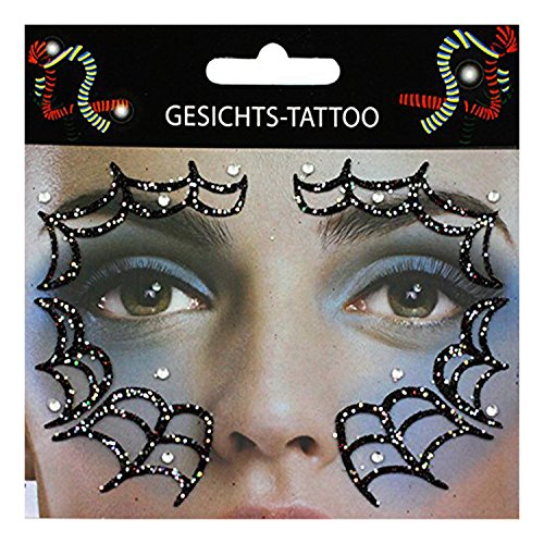 Gesichts-Tattoo Face Art Halloween Karneval (Make Up Kostüm Spinnennetz)