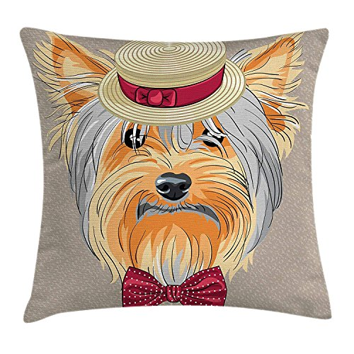 Yorkie Throw Pillow Cushion Cover, Hipster Yorkie with Cute Straw Boater and Bow Tie Hand Drawn Gentleman Dog, Decorative Square Accent Pillow Case, 18 X 18 Inches, Apricot Multicolor Woven Polyester 2 Tie