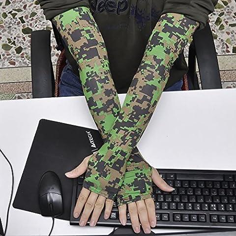 Sezione lunga del maniche di seta Cuff esterna del ghiaccio per le donne di guidare le maniche Ice Movimento Cura manica pesca Arm Gloves ( colore : Green Camouflage )