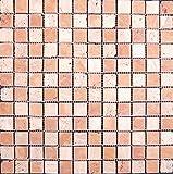 Natursteinmosaik getrommelt Travertino Rosso 2,3x2,3x0,7 cm, Restposten Mosako