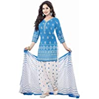 Rensila Fab Women's French Crepe & Chiffon Readymade Salwar Suit (RAF_FLYING BLUE_D_White_Free Size)