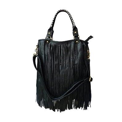 LYDC Black Fringe Tassel Shoulder Bag F Leather Designer Punk ...