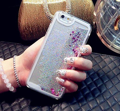 Coque iPhone 6S, Coque iPhone 6, Aprtwin® Fashion Style Coque, Creative 3D Flow Liquid Infused with Glitter and Stars Etui Housse Téléphone Couverture de Hard Plastique Coque pour iPhone 6/6S (4.7 Pou Star/Silver