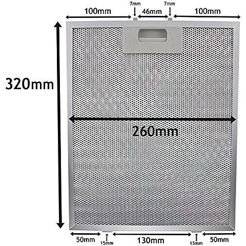 SPARES2GO Filtro de malla de metal para Teka Campana extractora/extractor Vent (Plata, 320x 260mm)