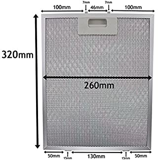 Spares2go Malla Metálica Filtro para teka campana extractora/extractor ventilación (plata, 320x 260mm)