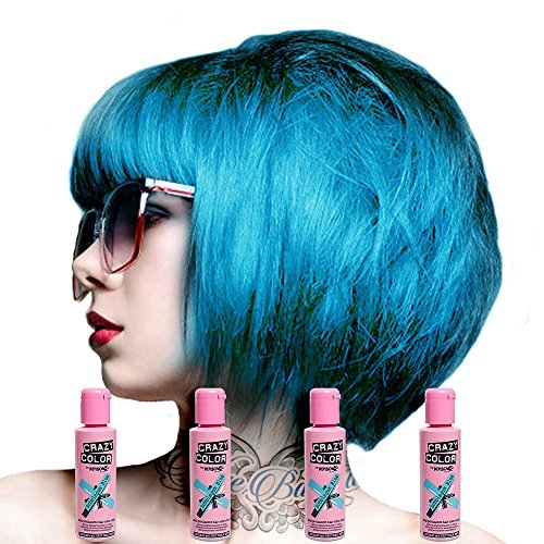 Crazy Color Semi Permanent Hair Color Cream Bubblegum Blue No.63 100ml , 4 Count by Crazy Color (English Manual)