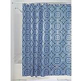iDesign Medallion Textil Duschvorhang | 183 cm x 183 cm Duschabtrennung für Badewanne und Duschwanne | Vorhang aus Stoff mit verstärkter Oberkante | Polyester blau