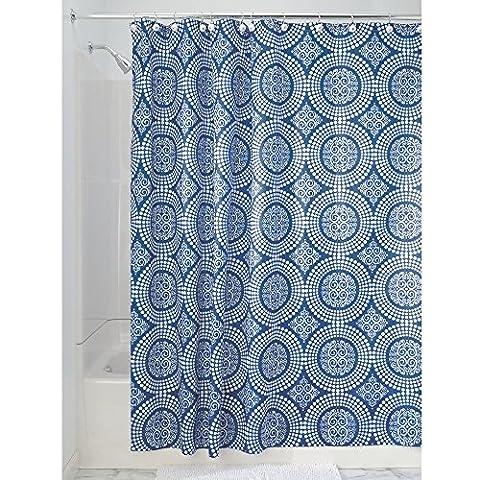 InterDesign Medallion Textil Duschvorhang | 183 cm x 183 cm Duschabtrennung für Badewanne und Duschwanne | Vorhang aus Stoff mit verstärkter Oberkante | Polyester blau